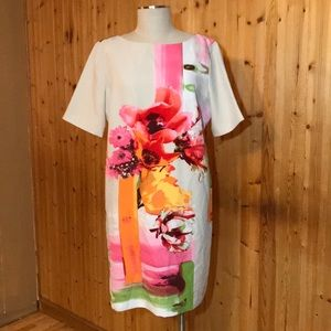 NWT Julian Taylor Coral Floral Bow Dress Size 14